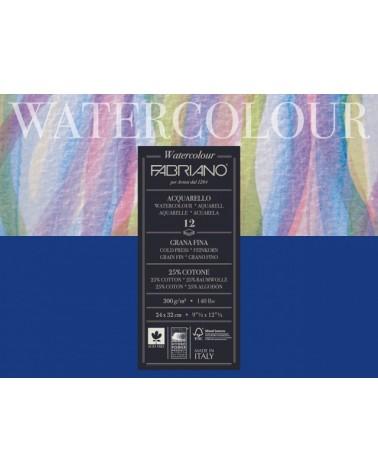 FABRIANO WATERCOLOUR STUDIO SPIRALE - GRANA FINE  - 300 g/mq - cm 13,5 X 21 - 12 fogli