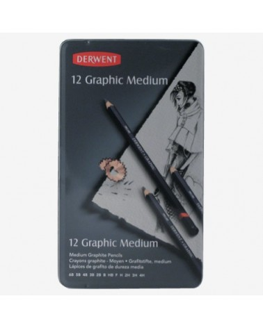 Confezione matite grafite - DERWENT GRAPHIC MEDIUM da 12