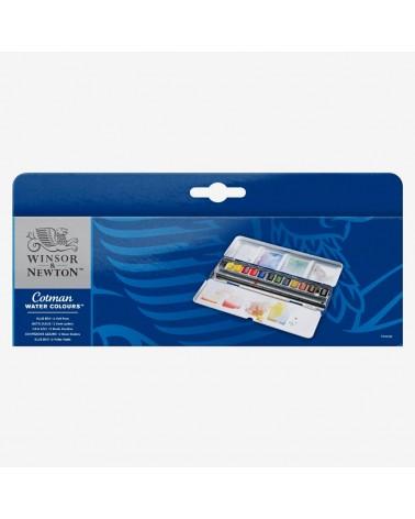 Confezione Acquarello W&N COTMAN Blu Box - 12 mezzi godet