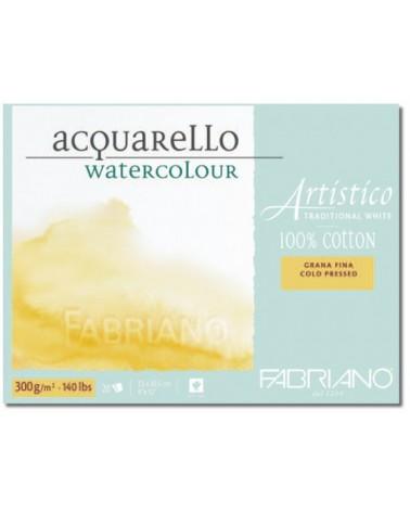 FABRIANO ARTISTICO BLOCCO PER ACQUARELLO 100% COTONE - GRANA FINE  - 300 g/mq - cm 23 X 30,5 - 20 fogli