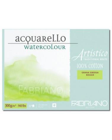 FABRIANO ARTISTICO BLOCCO PER ACQUARELLO 100% COTONE - GRANA GROSSA  - 300 g/mq - cm 30,5 X 45,5 - 20 fogli