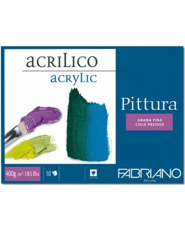 FABRIANO PITTURA PER ACRILICO - 400 g/mq - cm 25 X 35 - 10 fogli